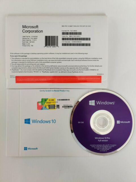 Microsoft Windows 10 Pro [Sealed Full Version] DVD+Key 1 PC 64 Bit