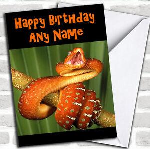 Orange Snake Birthday Customised Card