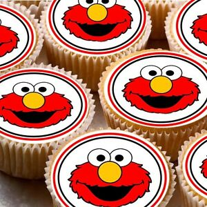 Details About 24 Edible Cake Toppers Decorations Elmo Face