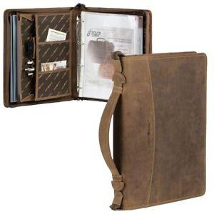 Details Zu Greenburry Schreibmappe A4 Leder Braun Vintage Visitenkartenetui