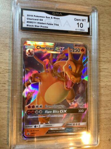 CHARIZARD GX GRADED GEM MINT 10 Pokémon Hidden Fates Tins Black Star Promo
