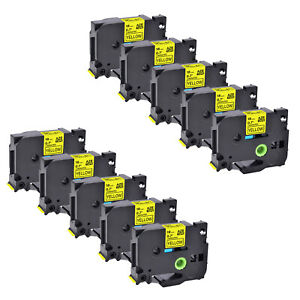 10PK Black on Yellow Label Tape 18mm For Brother P-touch TZ-641 TZe-641 US STOCK