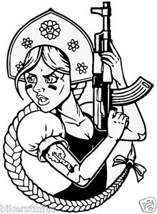 FUNNY RUSSIAN GIRL WITH AK-47 BUMPER STICKER LAPTOP STICKER CLEAR BACKGROUND