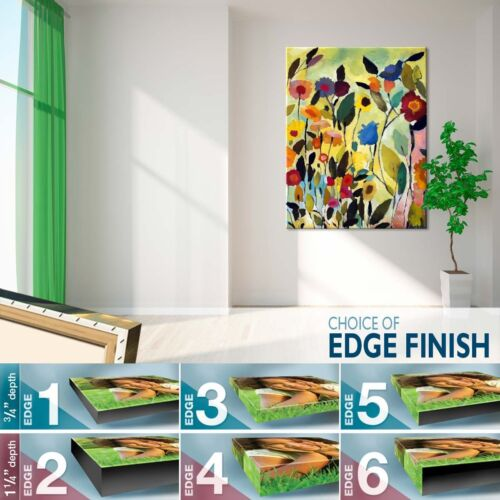 """22W/""""x28H/"""" GARDEN WITH BLUE TULIP  BY KIM PARKER COLORFUL FLOWERS ABSTRACT CANVAS"""