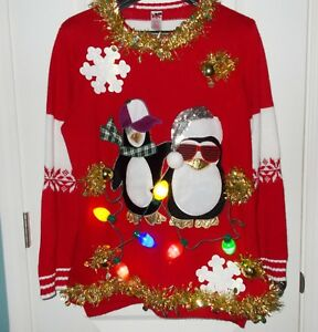 Light Up Christmas Sweater.Details About Ugly Christmas Sweater Tacky Light Up Holiday Penguins Sweater Women S Size 2x