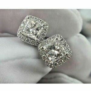 2-60-CT-Princess-Cut-Moissanite-Halo-Stud-Earrings-14k-White-Gold-Finish