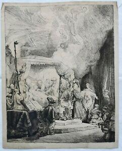 REMBRANDT-Repro-Mecanique-XIXe-19e-Papier-Verge-Filigrane-MORT-de-la-VIERGE-1639