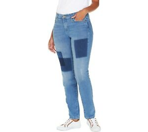 Isaac-Mizrahi-Women-039-s-Regular-TRUE-DENIM-Removed-Patch-Jeans-Indigo-Size-2-QVC