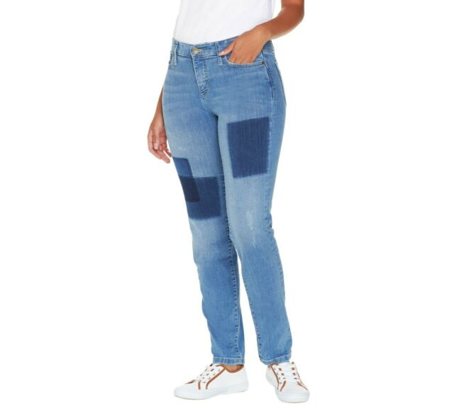 Isaac Mizrahi Womens Regular TRUE DENIM Removed Patch Jeans Indigo 18W Size QVC