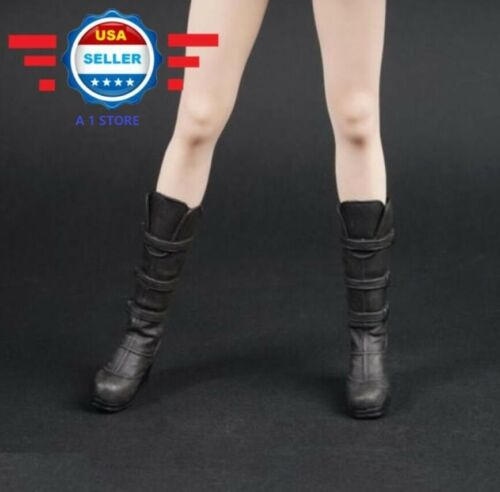 """1//6 BLACK Slope High Heeled Combat Boots For 12/"""" Female Figure PHICEN"""