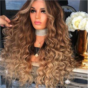 Brown Blonde 100 Human Hair Wig Brazilian Ombre Curly Full Lace