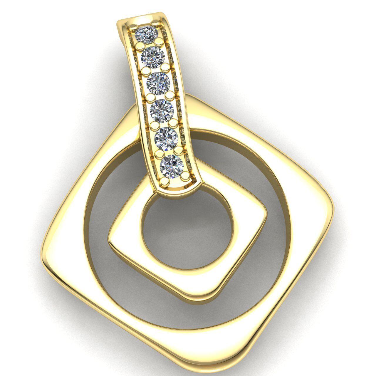 Genuine 1ct Round Cut Diamond Ladies Accent Bar Square Pendant 18K gold