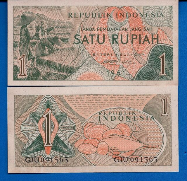 Indonesia P-78 1 Rupiah Year 1961 Rice field Workers Uncirculated Banknote