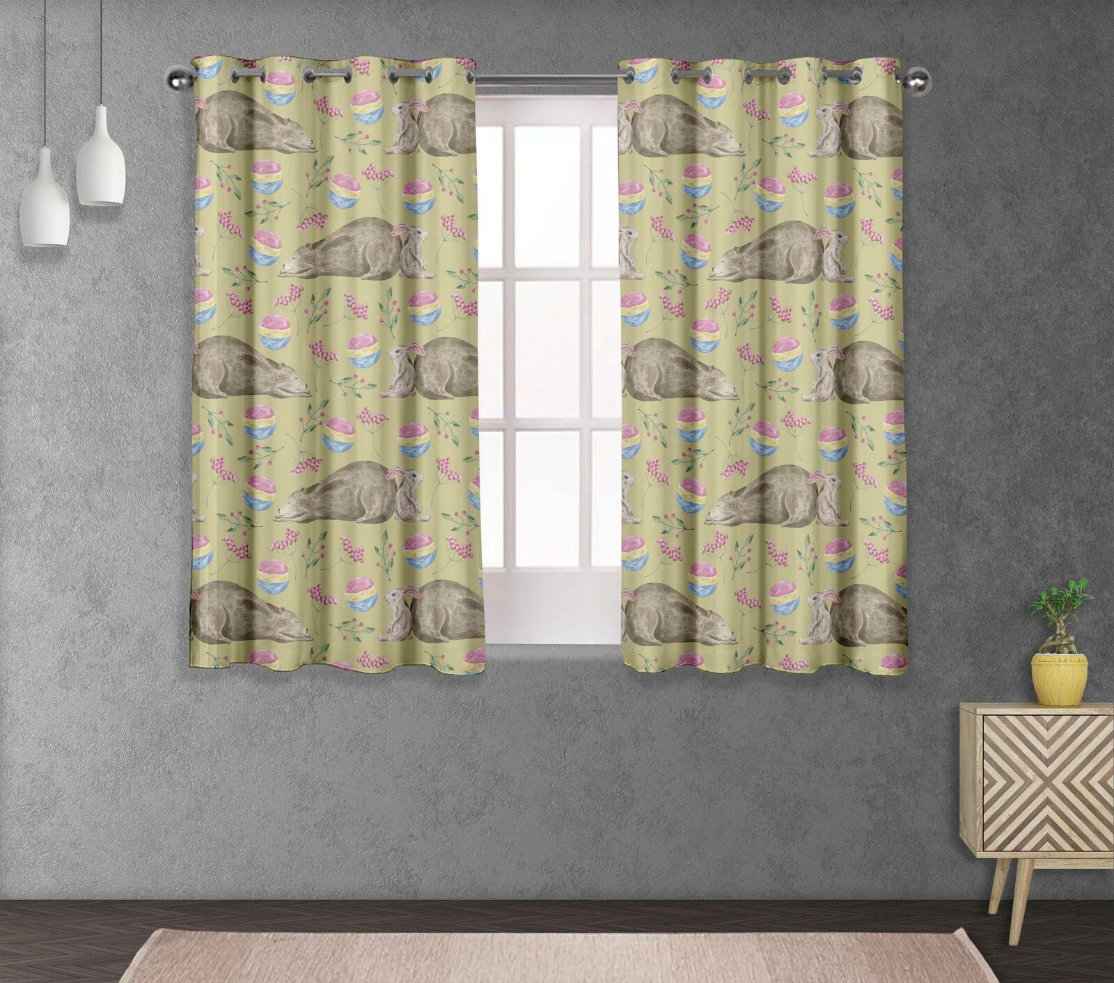 S4sassy Bear & Rabbit Home Decorative short & long Curtain Eyelet Panel -AN-523M