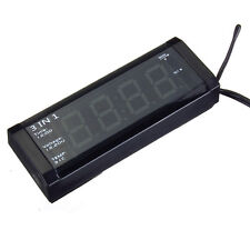 Car Red LED Display 3 in 1 Time Clock+ Thermometer+Voltmeter 12-24V