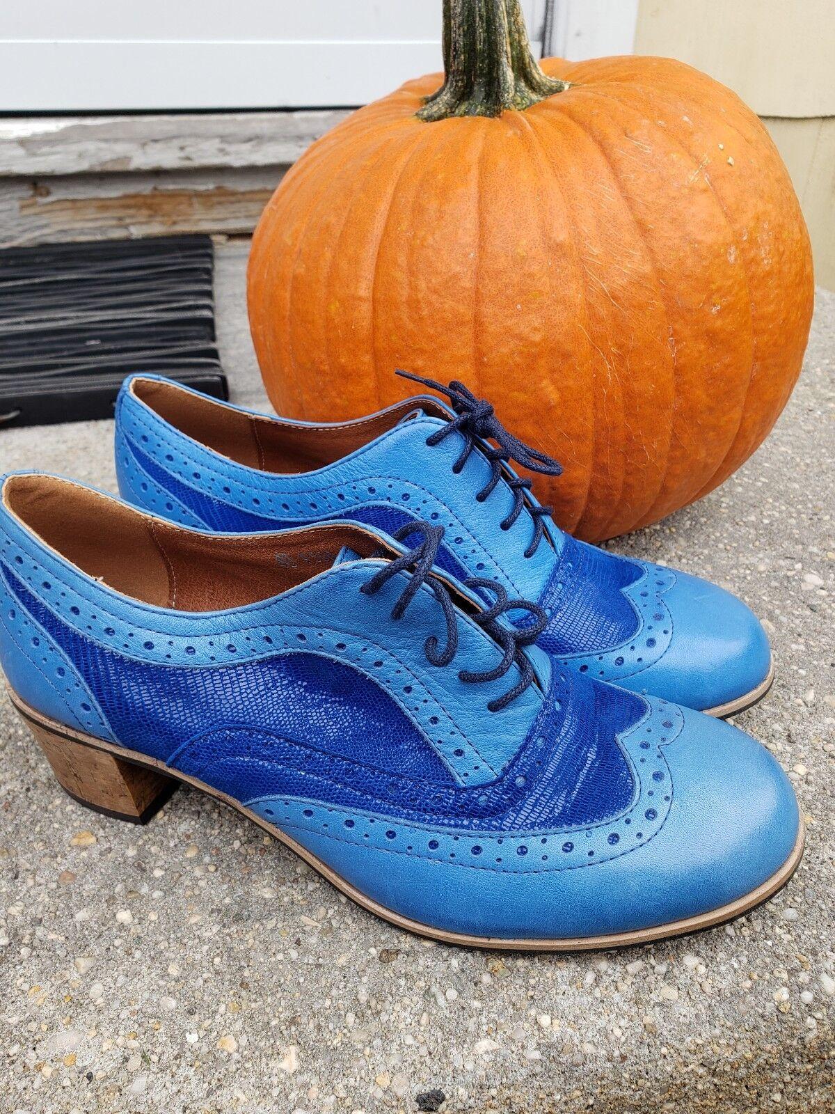 RARE RARE RARE Justin Reece 2-TONE Blau Leather matte lace up heel Stiefel damen SZ 40 auth 1c3719