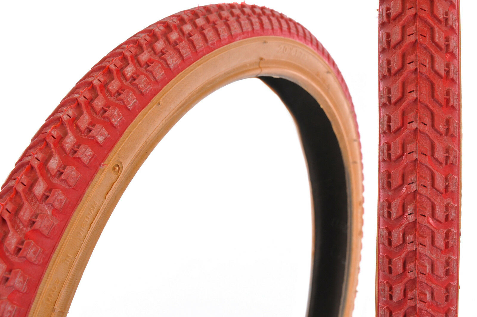 PAIR (2) OLD SCHOOL BMX 20x1.75  SNAKE BELLY  TYRES RED WITH AMBERWALL RARE NEW