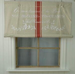 Rollo-Notre-Dame-beige-rot-mit-weisser-Schrift-120-cm-x-140-cm-Vintage-Stil