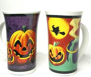 Halloween Coffee Mugs Latte Tall Ceramic Pumpkin Witch Spider Lot Of Two 12 Oz