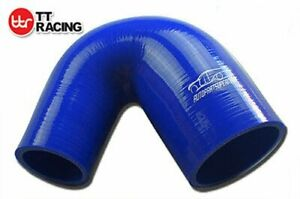 """45° degré Durite Réducteur Silicone Bleu 3.5/"""" 4 Plis 90mm"""