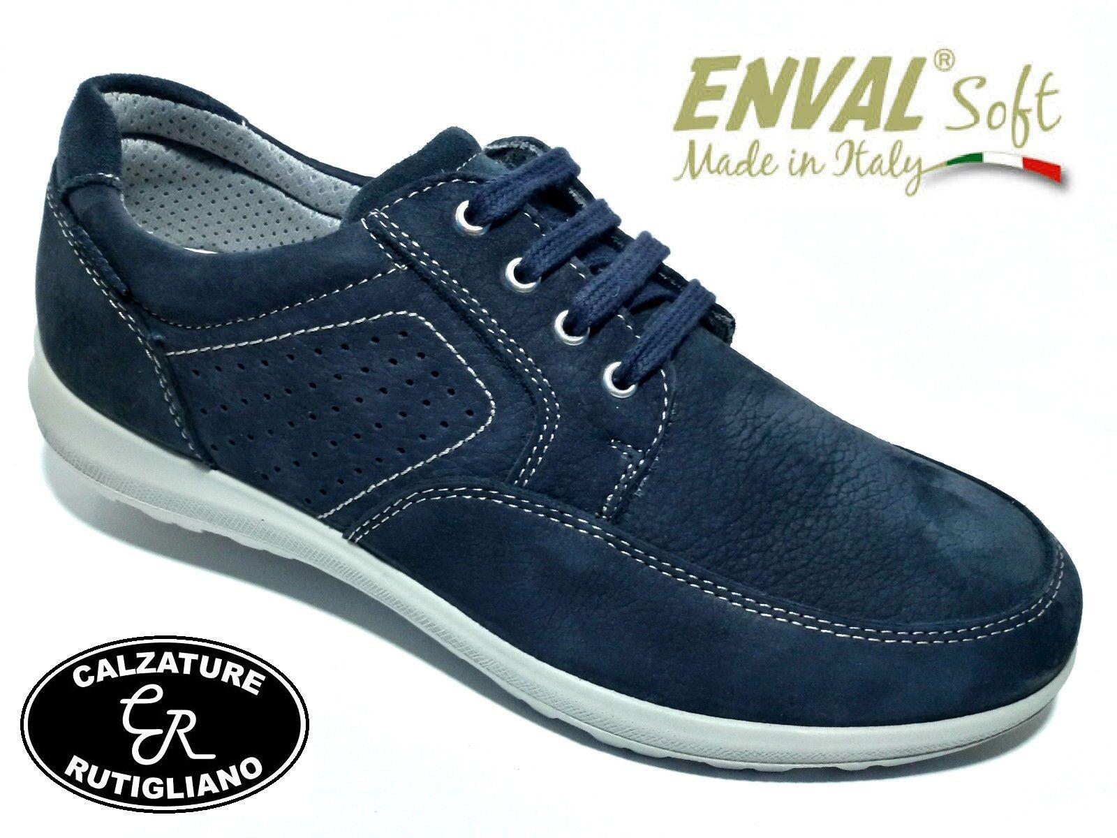 ENVAL SOFT chaussures hommes Décontracté PELLE NABUK bleu EXTRA large LINEA COMODA - 58871