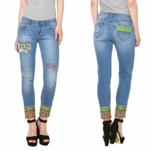 € 119 Desigual Women`s Jeans DENIM ETHNIC ANKLE Size 28 32  NEW
