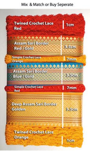 Golden Card Craft /& Ribbons Trims,11mts Mix Ribbons