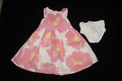 Baby & Toddler Clothing Energetic Euc Gymboree Girls Picnic Party Watercolor Floral Dress & Diaper Cover 6-12 M Dresses