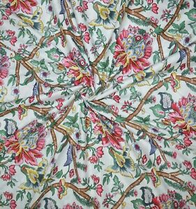 Indian Hand Block Cotton Fabric Floral Prints Handmade Vintage Dress 5 Yard Art