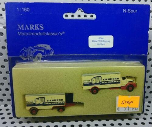 """Marks N 6544 MAN F8 Kofferaufbau mit Anhänger /""""Liebherr/"""" NEU /& OVP"""