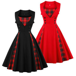 Vintage Women Plaid Checked Swing Rockabilly Dress Evening Party ...