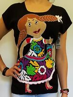 Huipil Peasant Boho Mexican Hand Embroidered Blouse Top Oaxaca