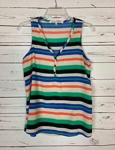 Collective-Concepts-Stitch-Fix-Women-039-s-M-Medium-Orange-Striped-Top-Tank-Blouse