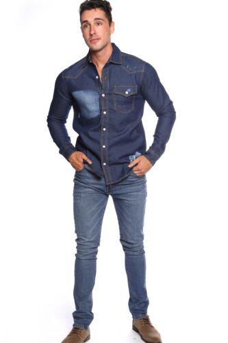 NUOVO JM brand da uomo indaco Shaded Tasca ANGOSCIA Slim Fit Maglia in Denim Casual