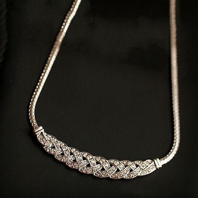 Women Jewelry Crystal Chain Choker Chunky Statement Bib Pendant Chain Necklace