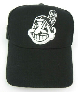 CLEVELAND-INDIANS-MLB-TWINS-WHITE-ON-BLACK-VINTAGE-CHIEF-WAHOO-LOGO-CAP-HAT-NEW