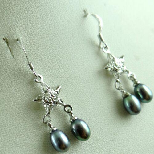 Genuine 6-7mm Freshwater Pearl Beads Dangle Silver Hook Earrings PA/_9