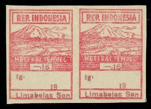 1946-Indonesia-Japanese-Occ-Meterai-Tempel-General-Revenue-15c-Mint-Pair-Imperf