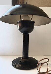 Details About Vtg Mid Century Modern Art Deco Industrial Mushroom Heavy Desk Table Lamp Cool