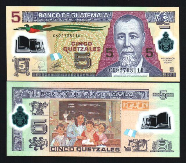 Guatemala 5 Quetzal New 2010 Polymer Bird Cl Room Unc Latino Money Bank Note