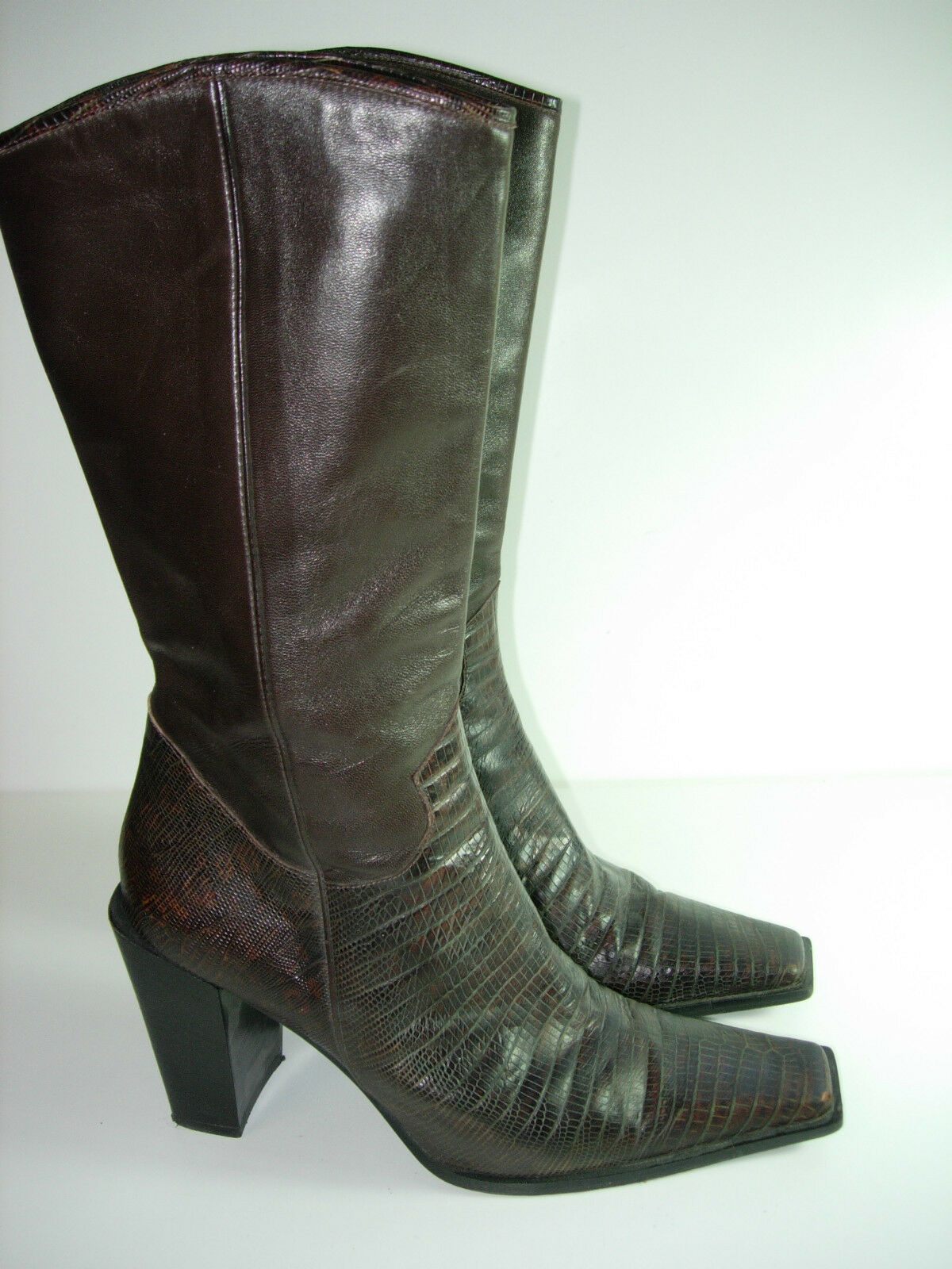 WOMENS BROWN LEATHER MIMA WESTERN COWBOY KNEE BOOTS HEELS  SHOES SIZE 38.5 8 M