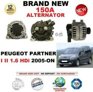 FOR PEUGEOT PARTNER I II 1.6 HDi 2005-ON NEW 150A ALTERNATOR with CLUTCH PULLEY