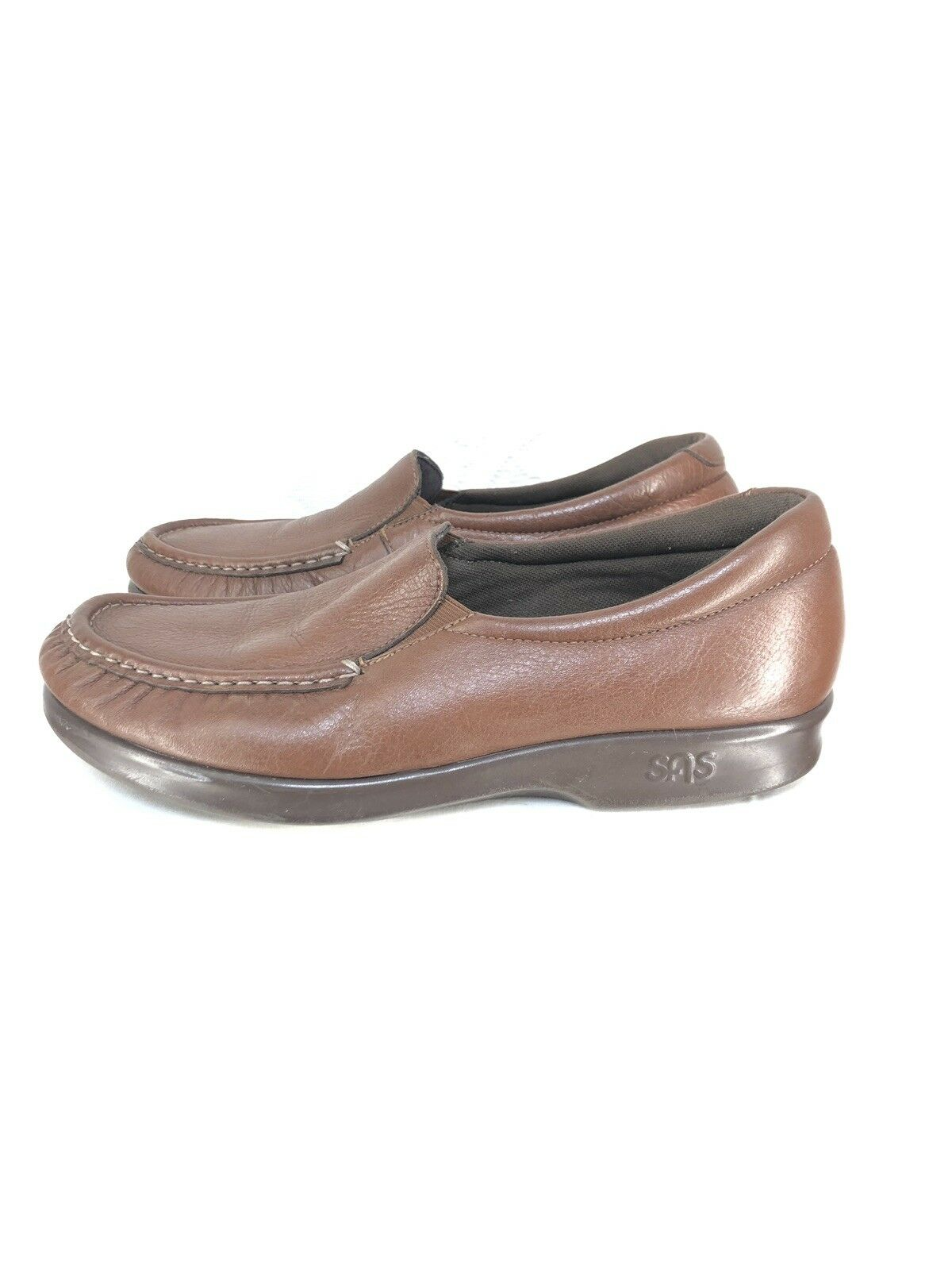 B11 SAS marron Leather Handsewn Slip-on chaussures Taille 8 No Insoles
