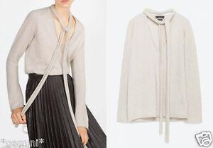 discount shop purchase cheap classic style Détails sur Zara 100% Cachemire Sable Crème Sweat Pull avec Écharpe  Cachemire Pull XS S