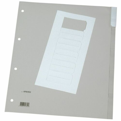 5 Blatt Q-Connect Register blanko grau A4 Überbreite PP