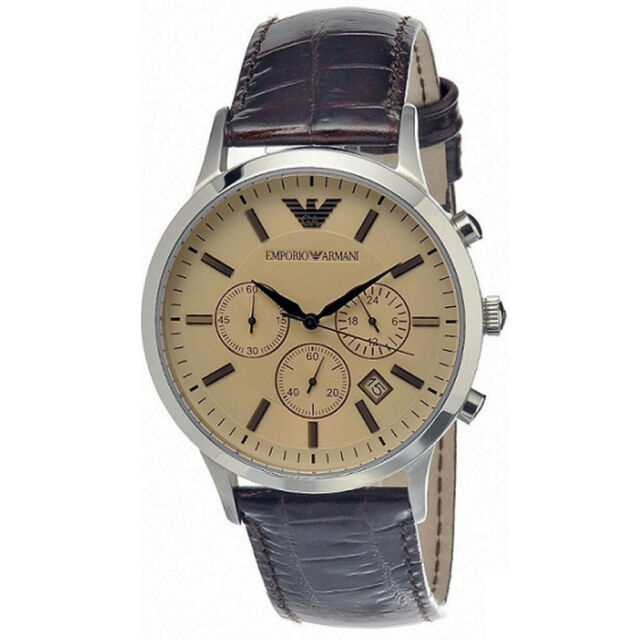 uk availability uk store designer fashion Emporio Armani AR2433 Classic Chronograph Brown Leather Mens Watch