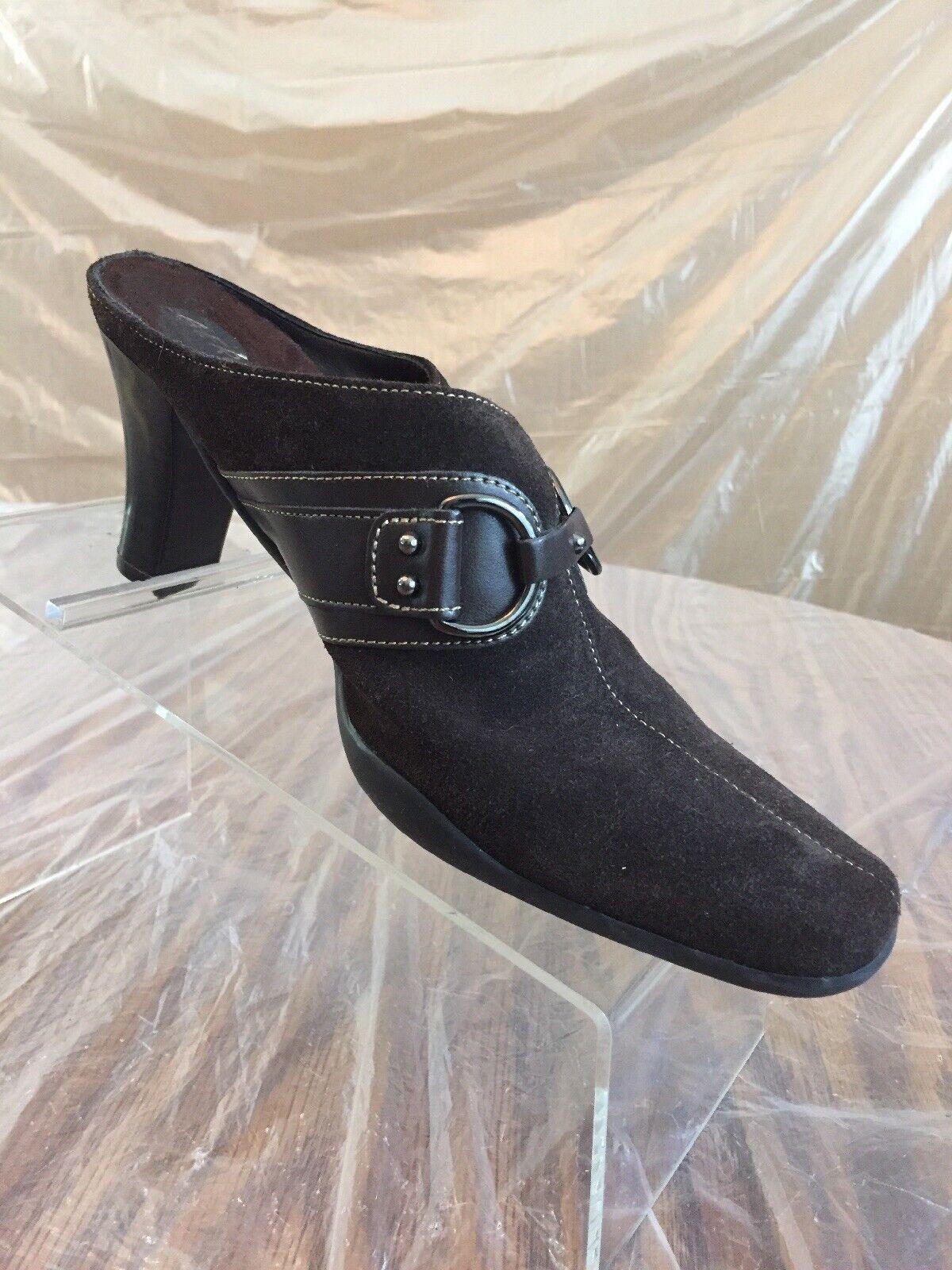 "Women's Aerosoles In a Cinch Brown Suede Mule 3"" Heels Clogs Ring Decor SZ 7.5M"