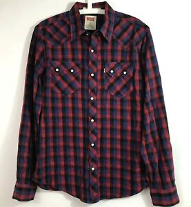 Levi-039-s-Mens-Size-M-Pearl-Button-Snap-Western-Shirt-Modern-Fit-Plaids-Long-Sleeve