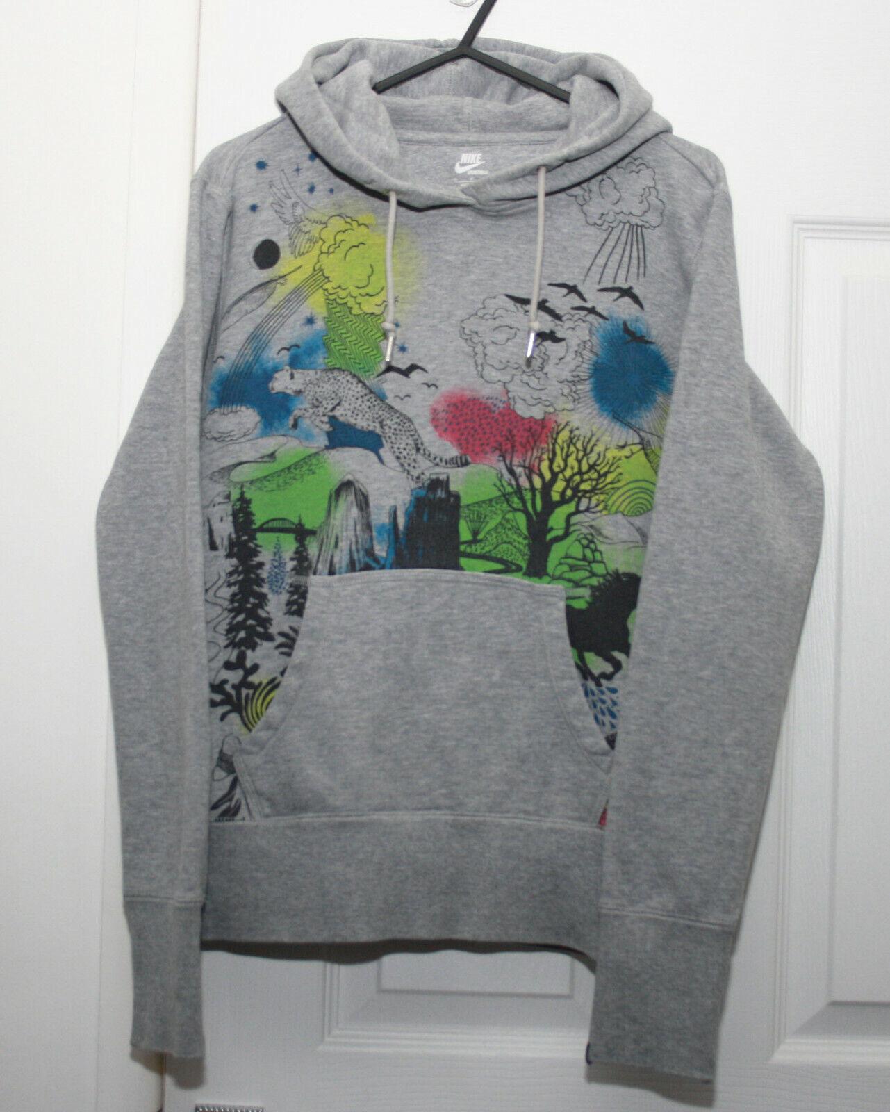 Ladies Nike Grey Printed Hoodie Small UK 6-8 Slim Fit