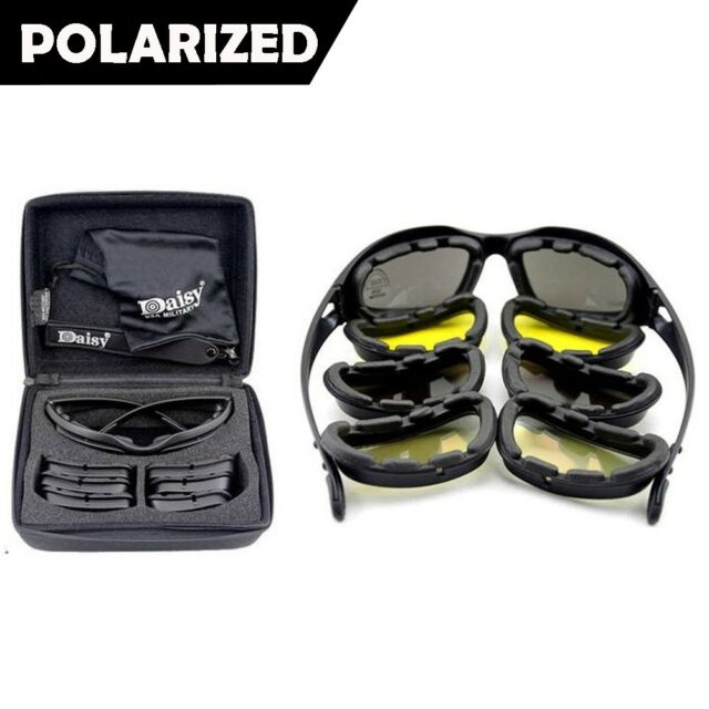 Polarized Daisy X7 Motorcycle Riding Sunglasses Military Tactical Goggles 4 Lens